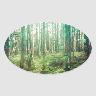 Forest Trees - In the Woods Pattern Oval Sticker
