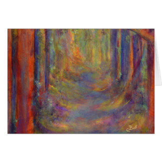 Forest Tunnel Autumn Woods Art Painting Card