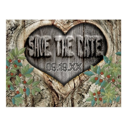 Forest Wedding Rustic Heart in Tree Save the Date Postcard