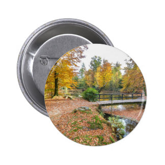 Forest with pond and bridge in fall colours 2 inch round button