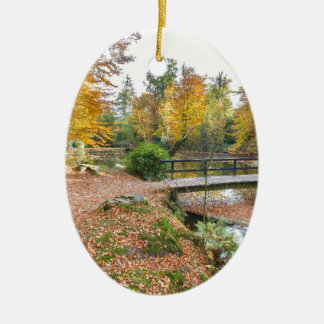 Forest with pond and bridge in fall colours ceramic ornament