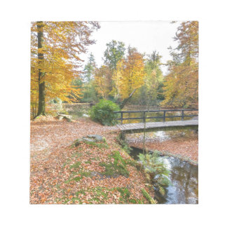 Forest with pond and bridge in fall colours notepad