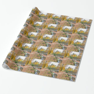 Forest with pond and bridge in fall colours wrapping paper
