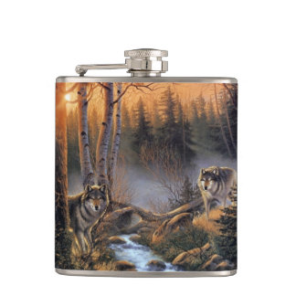 Forest Wolves 6 oz Vinyl Wrapped Flask