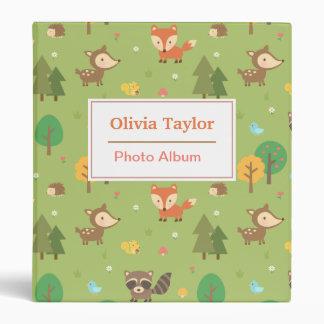 Forest Woodland Animal Pattern For Kids Vinyl Binder