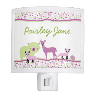 Forest Woodland Animals for GIRL / purple green Night Lite