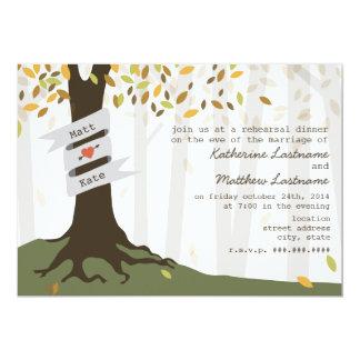 """Forest / Woodland Fall Autumn Rehearsal Dinner 5"""" X 7"""" Invitation Card"""