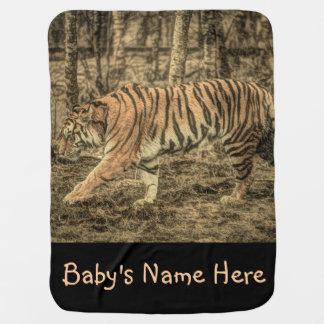 Forest Woodland wildlife Majestic Wild Tiger Baby Blanket