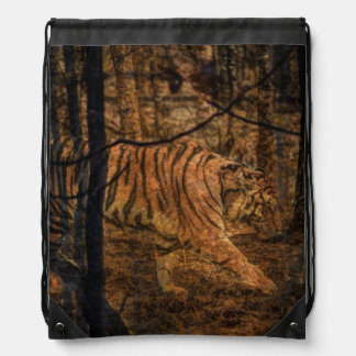 Forest Woodland wildlife Majestic Wild Tiger Drawstring Bag