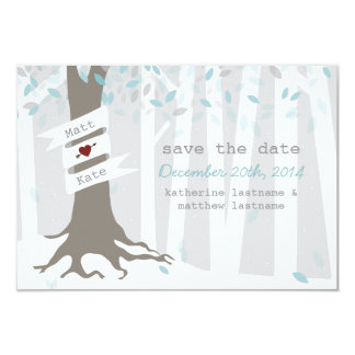 Forest Woodland Winter Snow Wedding Save The Date Card