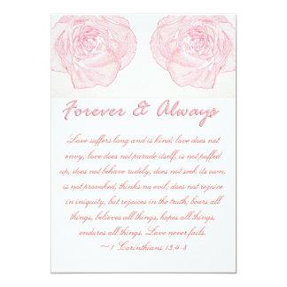 Forever & Always Rose Scripture Wedding Card