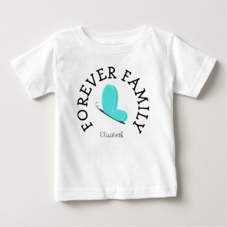 Forever Family Blue Butterfly Adoption Gift Baby T-Shirt