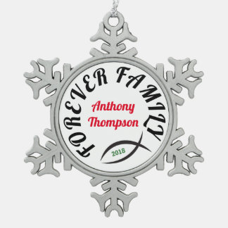 Forever Family Christian Adoption Gift Snowflake Pewter Christmas Ornament