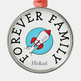 Forever Family kids Retro Rocketship Adoption Gift Metal Ornament