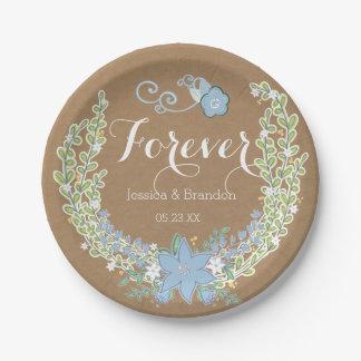 Forever floral bleu de Bells épousant les plaques Assiette En Papier 17,8 Cm