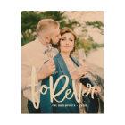 Forever Hand Lettered Script Wedding Photo Wood Print