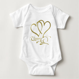 Forever Hearts Gold editable background colors Baby Bodysuit