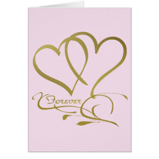 Forever Hearts Gold editable background colors Card