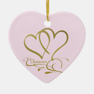 Forever Hearts Gold editable background colors Ceramic Ornament