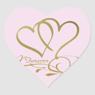 Forever Hearts Gold editable background colors Heart Sticker