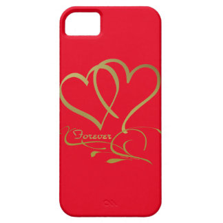 Forever Hearts Gold editable background colors iPhone 5 Case
