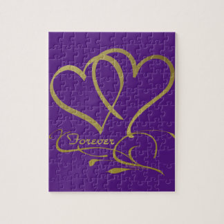 Forever Hearts Gold editable background colors Jigsaw Puzzle