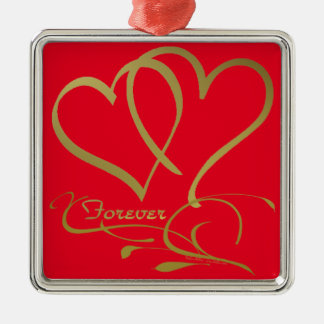 Forever Hearts Gold editable background colors Metal Ornament
