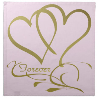 Forever Hearts Gold editable background colors Napkin