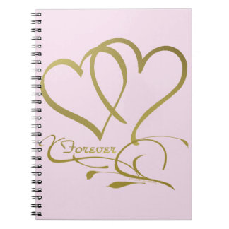 Forever Hearts Gold editable background colors Notebook