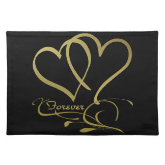 Forever Hearts Gold editable background colors Placemat