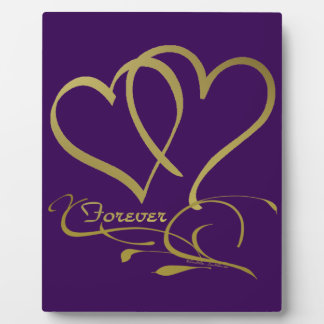 Forever Hearts Gold editable background colors Plaque