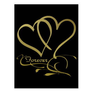 Forever Hearts Gold editable background colors Postcard