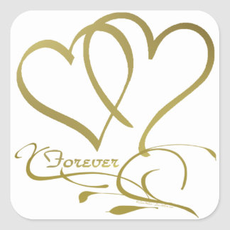 Forever Hearts Gold editable background colors Square Sticker