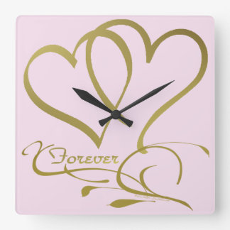 Forever Hearts Gold editable background colors Square Wall Clock