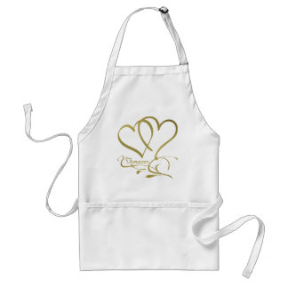 Forever Hearts Gold editable background colors Standard Apron