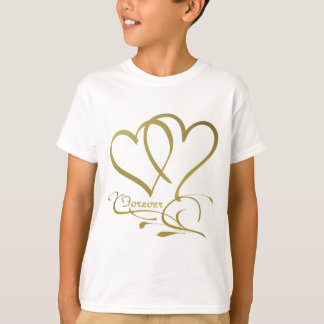 Forever Hearts Gold editable background colors T-Shirt