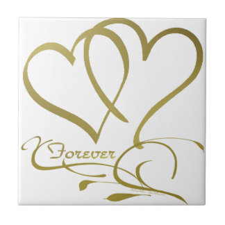 Forever Hearts Gold editable background colors Tile