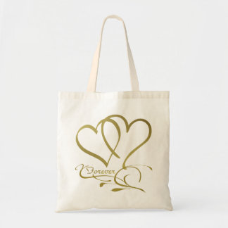 Forever Hearts Gold on White Tote Bag