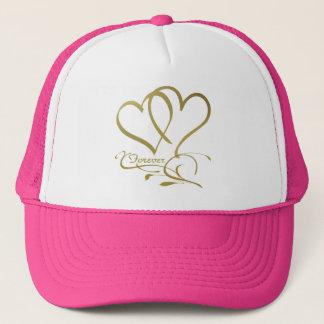 Forever Hearts Gold on White Trucker Hat
