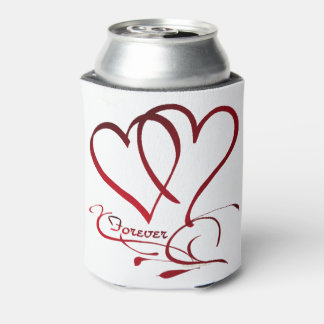 Forever Hearts Red on White Can Cooler