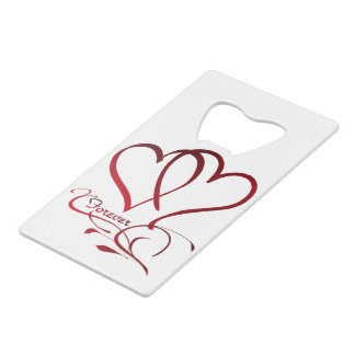 Forever Hearts Red on White Credit Card Bottle Opener