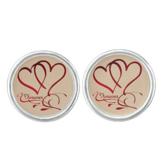 Forever Hearts Red on White Cuff Links