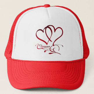 Forever Hearts Red on White Trucker Hat
