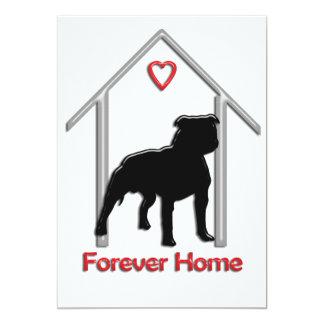 "Forever Home Black Pitbull Logo 5"" X 7"" Invitation Card"