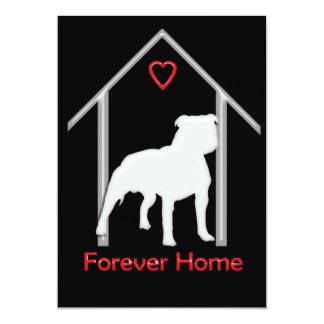 "Forever Home White Pitbull Logo 5"" X 7"" Invitation Card"