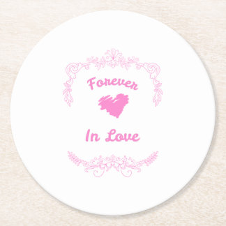 Forever In Love Wedding Favors Round Paper Coaster