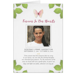 Forever in Our Hearts Butterfly Photo Thank You Card