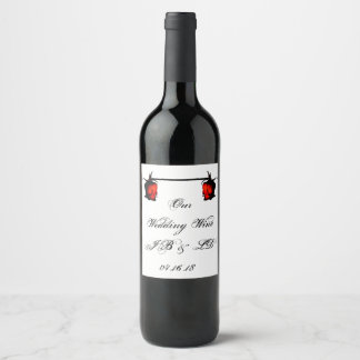 Forever Love, Connected Roses, Add detail Wedding Wine Label