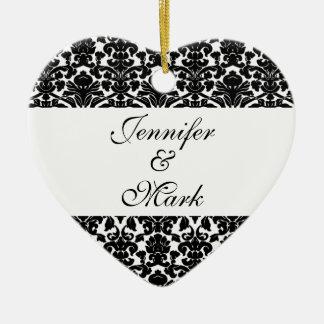 Forever love custom black white damask heart shape ceramic heart ornament