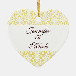 Forever love custom yellow damask heart shape ceramic heart ornament